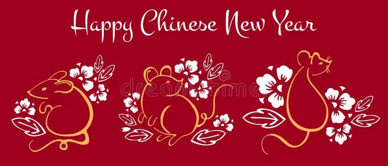 Año Nuevo chino 2020 El año del ratón o de la rata Withillustration del sistema del vector de tres ratones y flores imagen de archivo