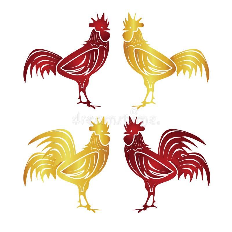 Año Nuevo chino feliz 2017 el año de pollo ilustración del vector