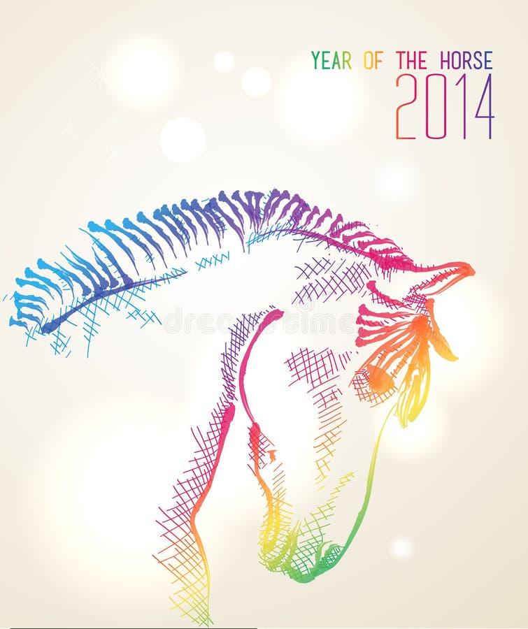 Año Nuevo chino multicolor del fondo 2014 del caballo stock de ilustración