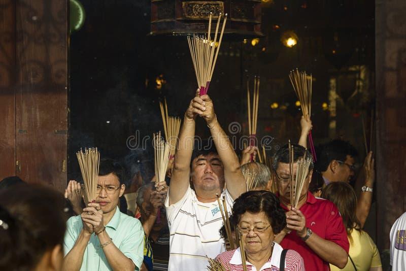 Año Nuevo chino n de PENANG, MALASIA la diosa del templo de la misericordia fotos de archivo