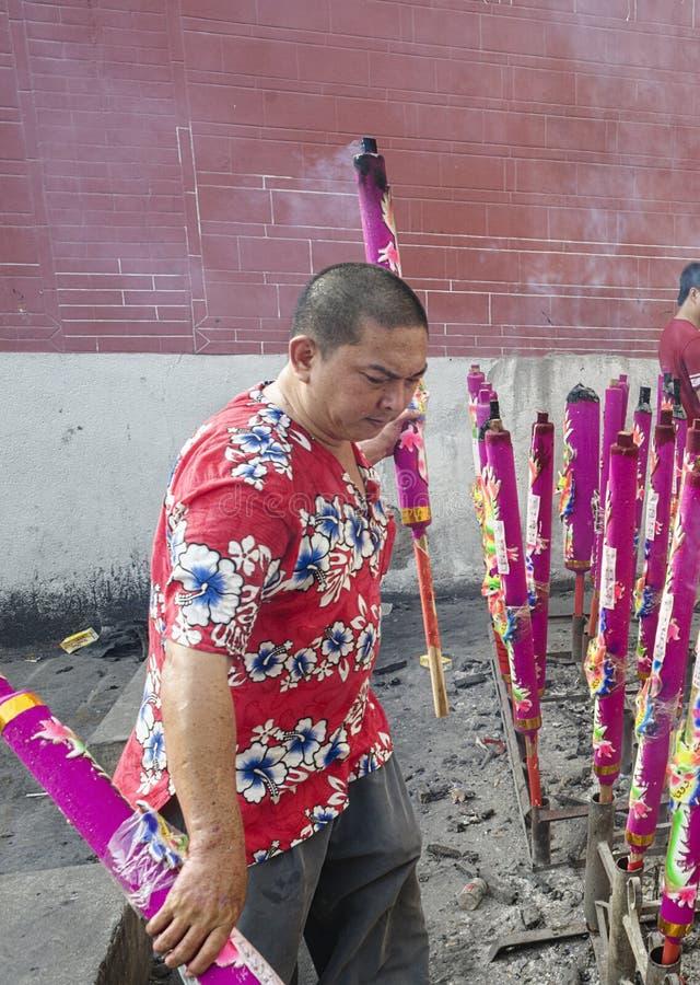 Año Nuevo chino n de PENANG, MALASIA la diosa del templo de la misericordia imagen de archivo libre de regalías