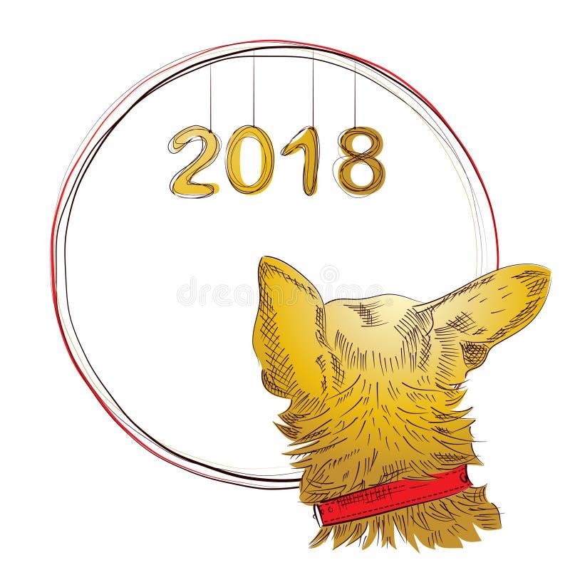 Año Nuevo chino 2018 Perro del zodiaco Tarjeta de la Feliz Año Nuevo stock de ilustración