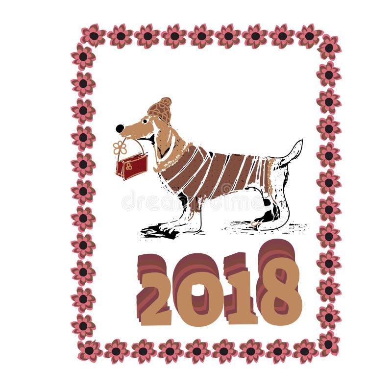 Año Nuevo chino 2018 Perro del zodiaco Tarjeta de la Feliz Año Nuevo, modelo, arte con el perro Vector dibujado mano de papel del stock de ilustración