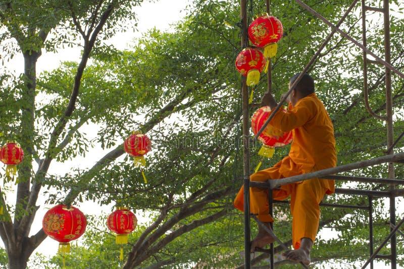 Año Nuevo chino que adorna la preparación foto de archivo