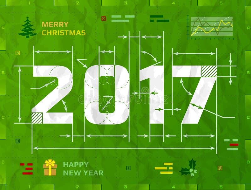 Año Nuevo 2017 como dibujo técnico del modelo ilustración del vector