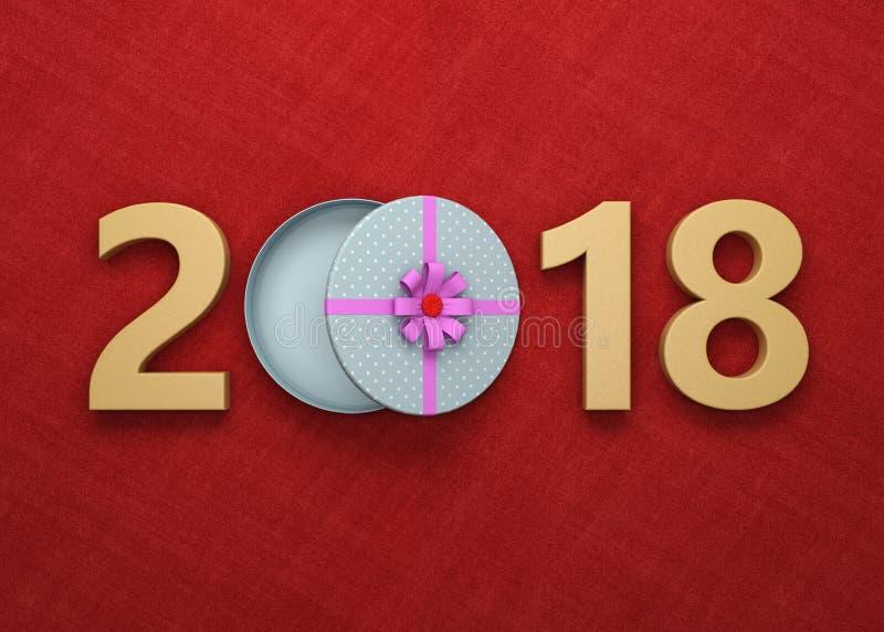 Año Nuevo 2018 con la caja de regalo stock de ilustración