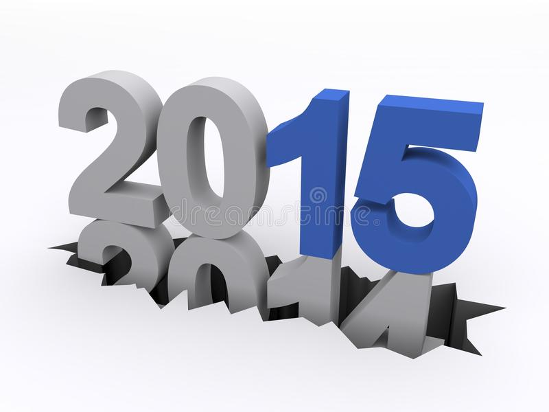 Año Nuevo 2015 contra 2014 ilustración del vector