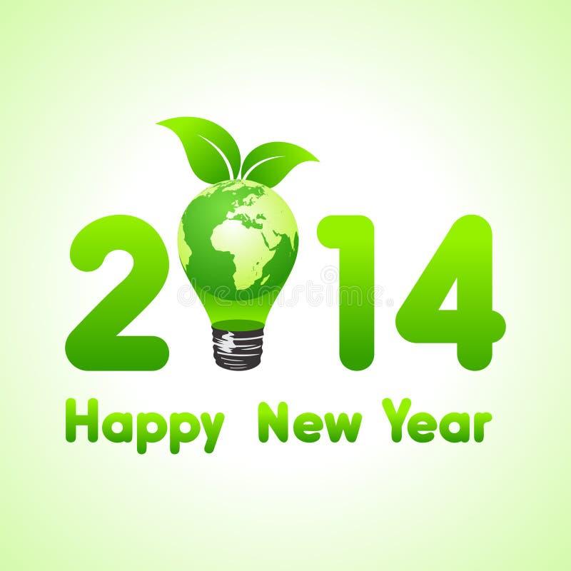 Año Nuevo creativo con el bulbo de la tierra del eco, 2014 stock de ilustración