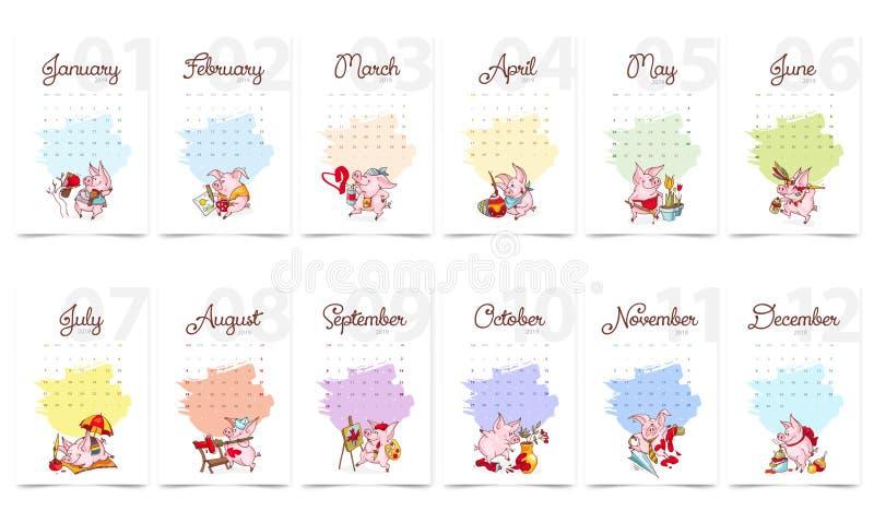 Año Nuevo 2019 Cubierta del calendario Calendario creativo con los cerdos lindos Concepto, plantilla editable vertical del vector libre illustration