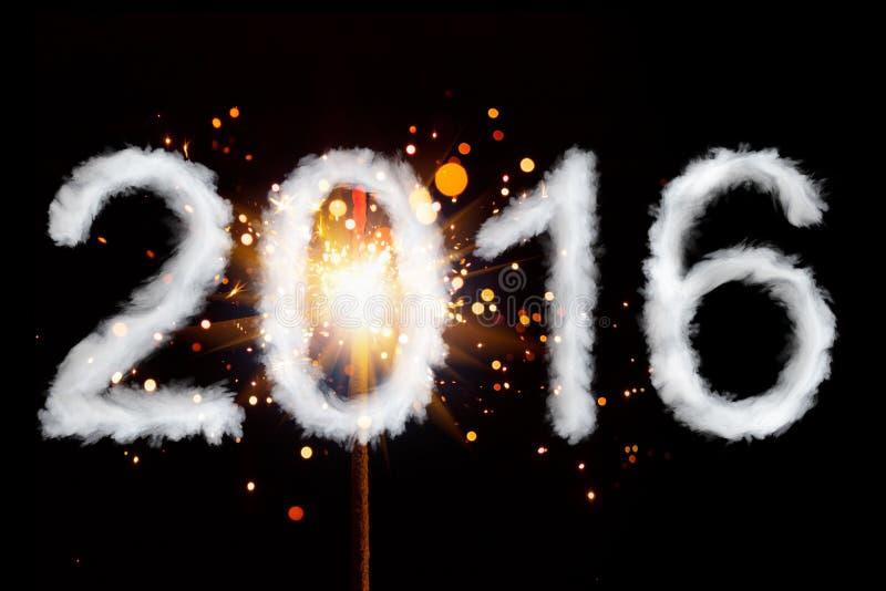 Año Nuevo 2016, dígitos del estilo del humo fotografía de archivo