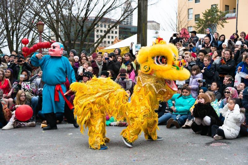 Año Nuevo de chino de la danza de león imágenes de archivo libres de regalías