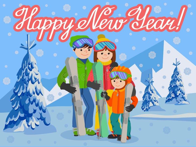 Año Nuevo de la tarjeta de la enhorabuena con el hombre, mujer, muchacho, esquiando en montaña de la nieve Ejemplo del vector del stock de ilustración