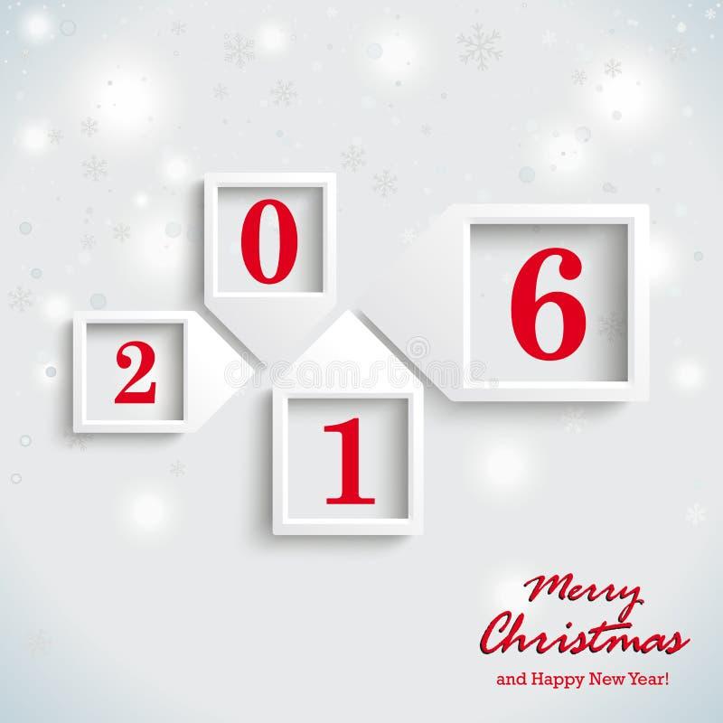 Año Nuevo 2016 de la tarjeta de Navidad ilustración del vector