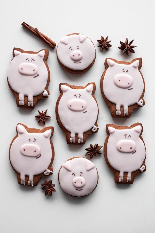 Año Nuevo de las galletas 2019 deliciosos del pan de jengibre imagenes de archivo