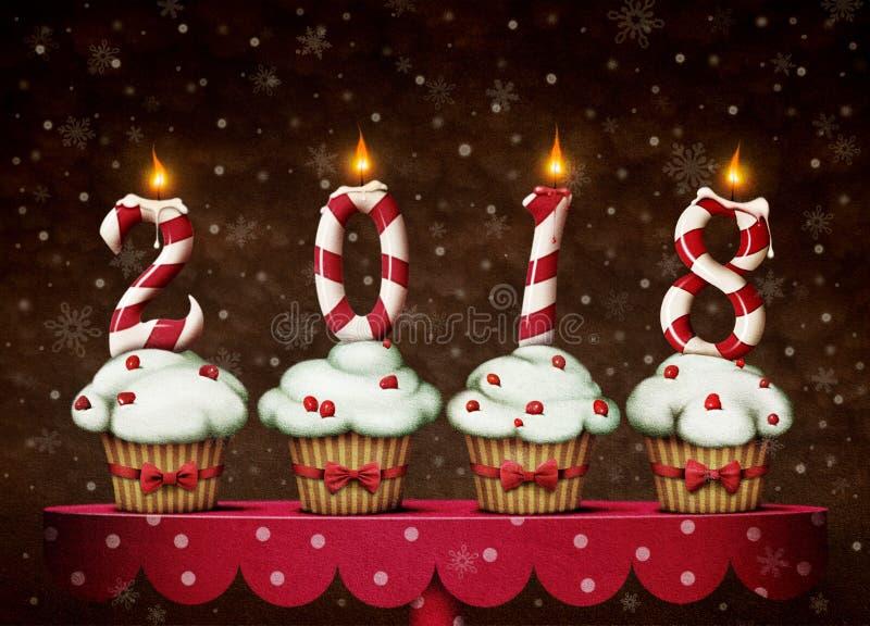 Año Nuevo de los caramelos y de las tortas ilustración del vector