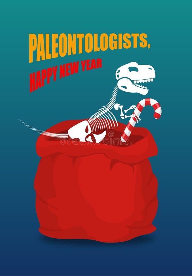 Año Nuevo de los paleontólogos Esqueleto del dinosaurio en el saco rojo Santa Cl libre illustration