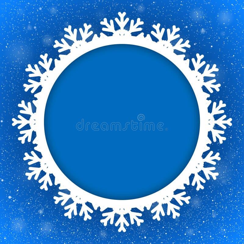 Año Nuevo del fondo azul del círculo nieve snowflake stock de ilustración