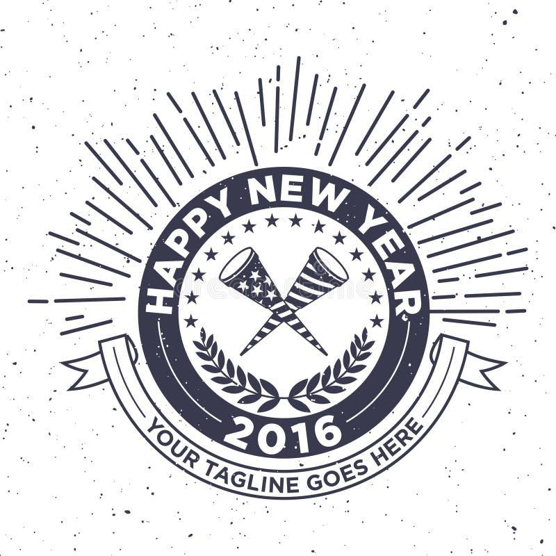 Año Nuevo 2016 del inconformista, insignia y trompeta, vector apenado libre illustration