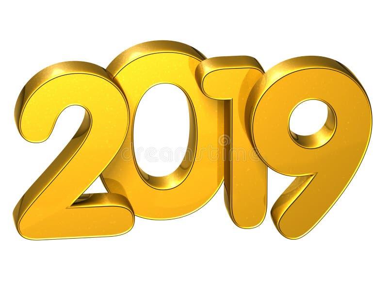 Año Nuevo 2019 del número del oro 3D en el fondo blanco libre illustration