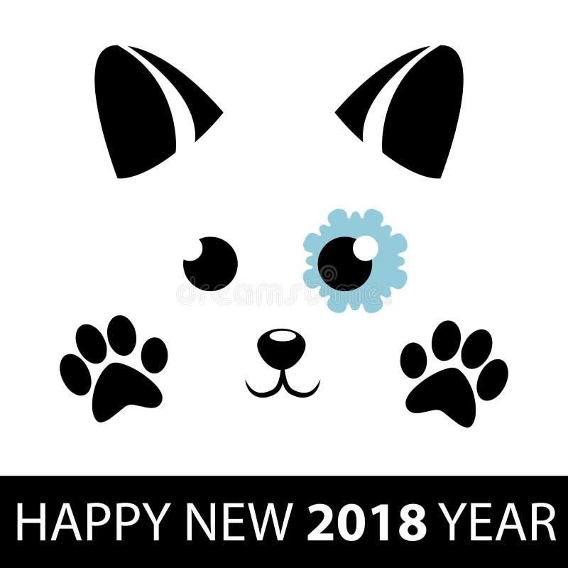 Año Nuevo del perro Perro lindo con el copo de nieve y las patas negras fondo chino del Año Nuevo 2018 Ilustración del vector stock de ilustración