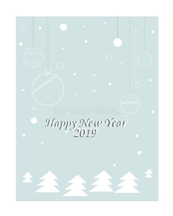 Año Nuevo 2019 del vector de la tarjeta de Navidad ilustración del vector