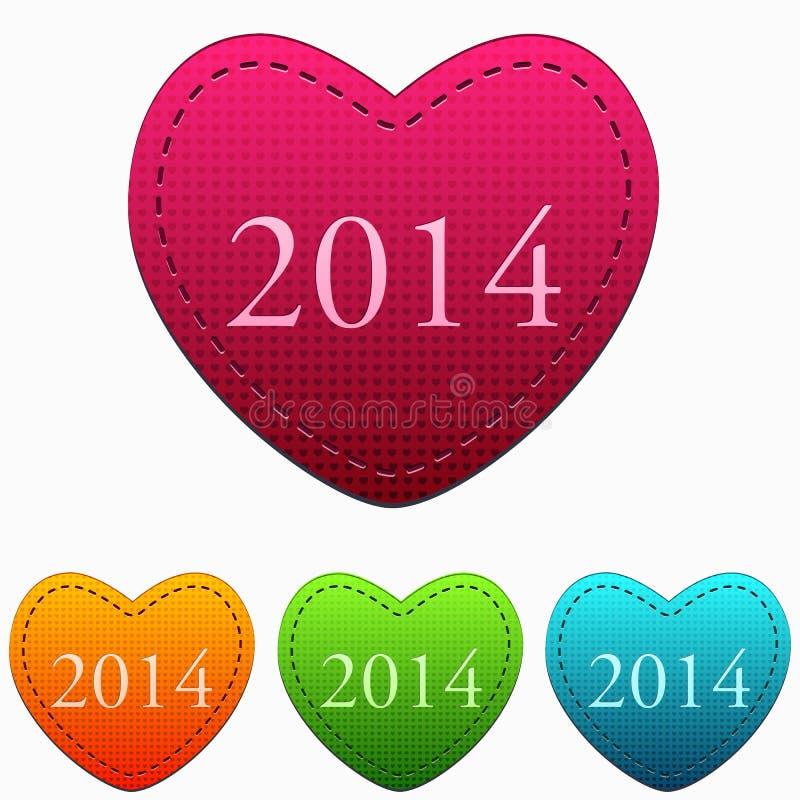 Año Nuevo 2014 en corazones coloridos stock de ilustración