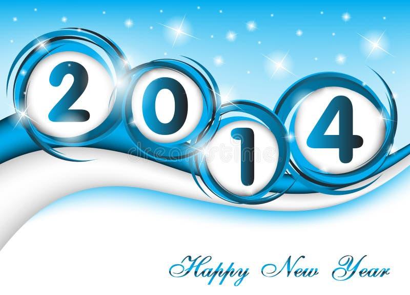 Año Nuevo 2014 en fondo azul ilustración del vector