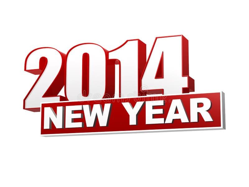 Año Nuevo 2014 en las figuras 3d y bloque rojos libre illustration