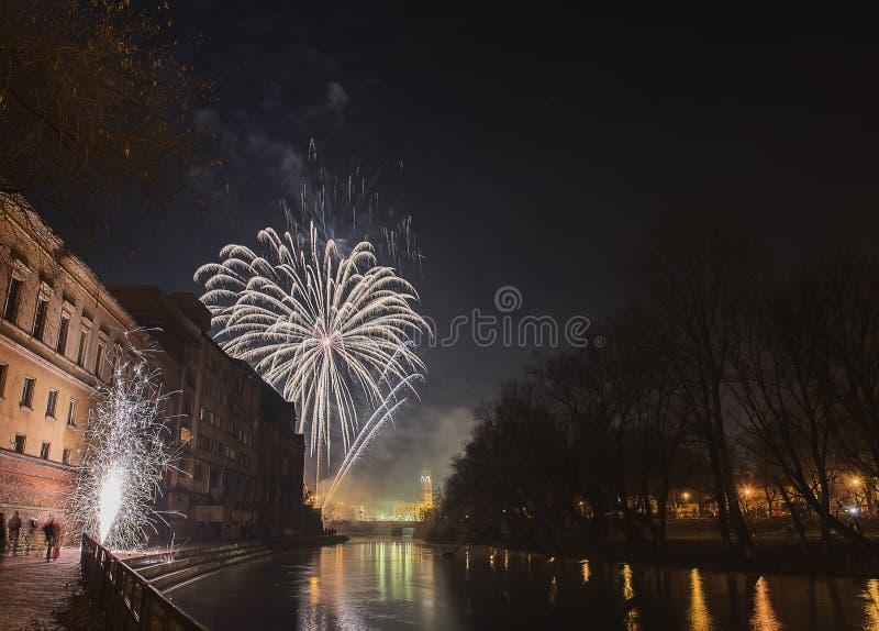 Año Nuevo 2015 en ORADEA imágenes de archivo libres de regalías