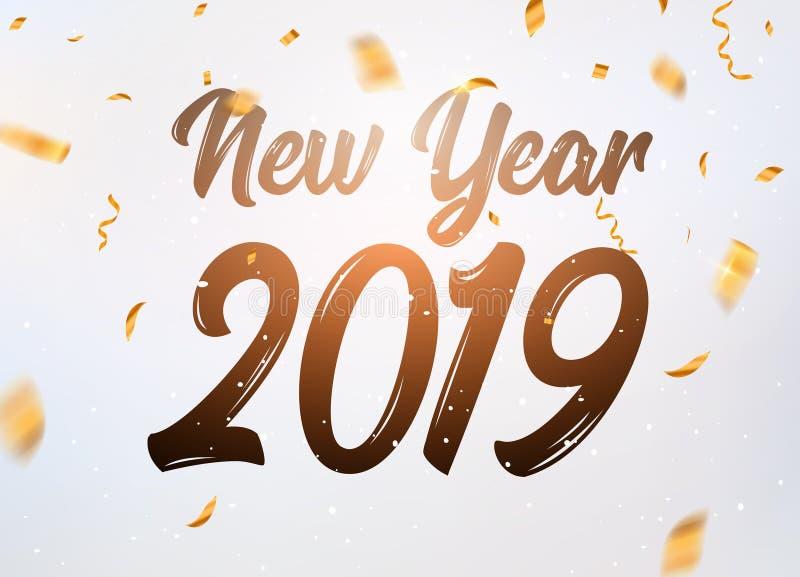 Año Nuevo escrito 2019 manos Poniendo letras a las estrellas y a las bolas de oro de la Navidad diseñe el fondo Nueva decoración  ilustración del vector