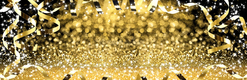 Año Nuevo, flámulas de oro con brillo chispeante fotografía de archivo