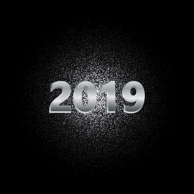 Año Nuevo 2019 Fondo de plata del brillo Ilustración del vector stock de ilustración