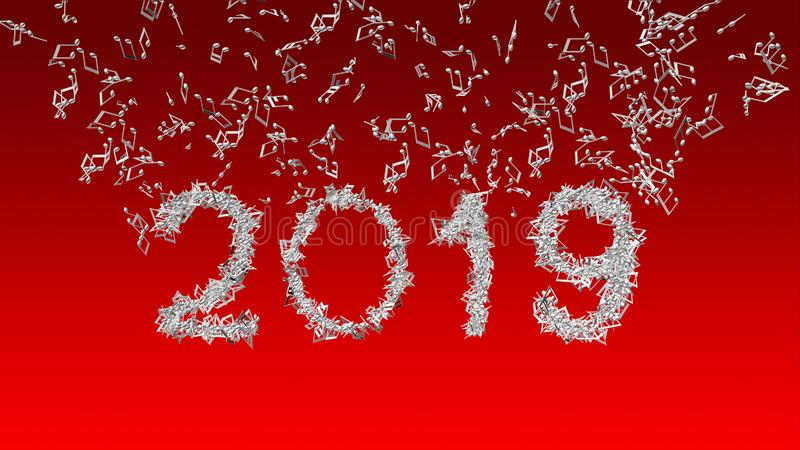 Año Nuevo 2019 hecho de notas musicales libre illustration