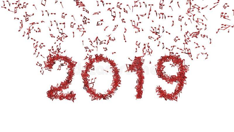 Año Nuevo 2019 hecho de notas musicales stock de ilustración