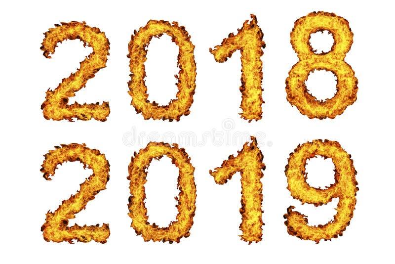 Año Nuevo 2018 - 2019 hechos de la llama del fuego libre illustration