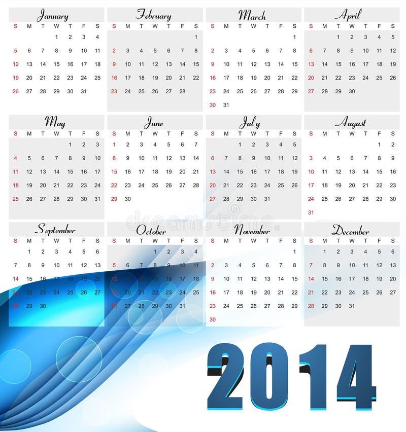 Año Nuevo hermoso para la onda colorida de 2014 calendarios  stock de ilustración