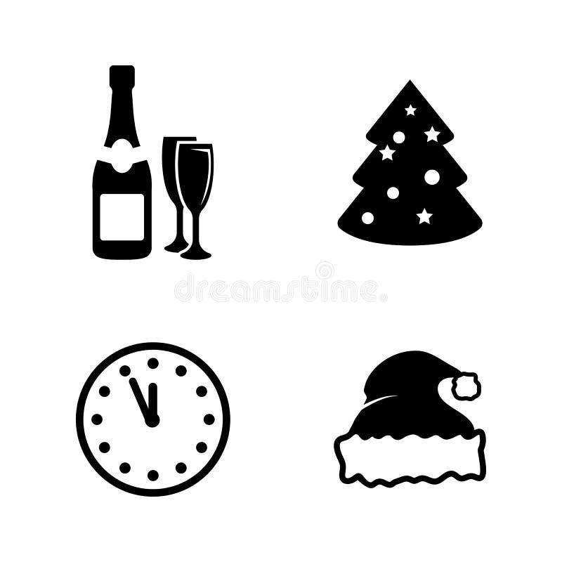 Año Nuevo Iconos relacionados simples del vector libre illustration