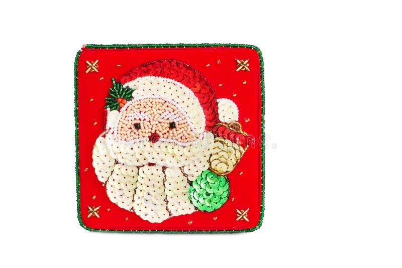 Año Nuevo La caja roja adornada con las gotas En el ataúd de Santa Claus fotos de archivo libres de regalías