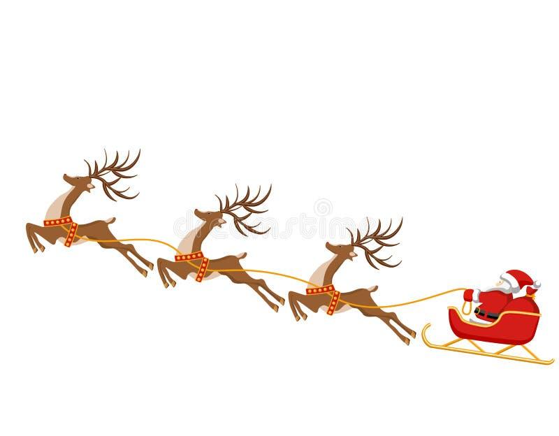 Año Nuevo, la Navidad Dibujo de ciervos y trineo de Santa Claus En color Ilustración stock de ilustración