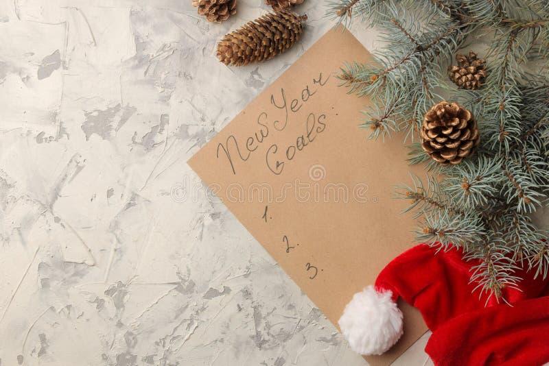 Año Nuevo Metas para 2019 Texto en un trozo de papel con un sombrero de Sano Claus y ramas de árbol de navidad en un fondo ligero imagenes de archivo