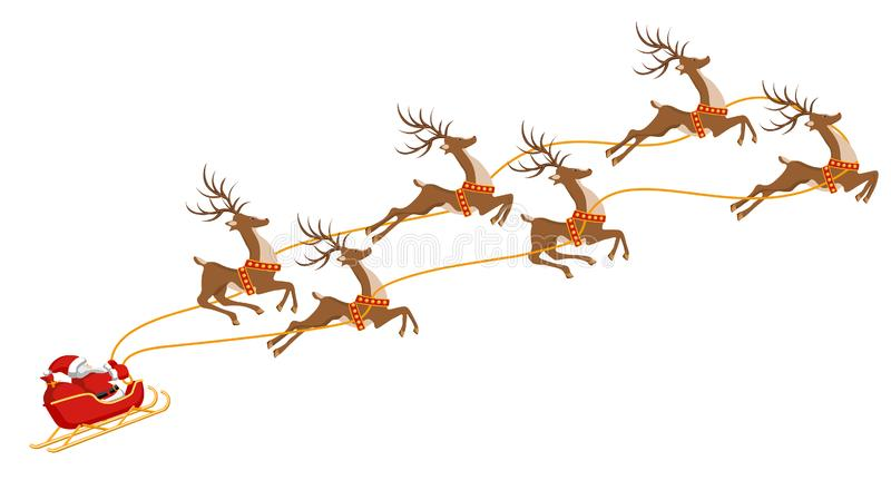 Año Nuevo Navidad Santa Claus en un trineo aprovechado por seis ciervos En color Ilustración stock de ilustración