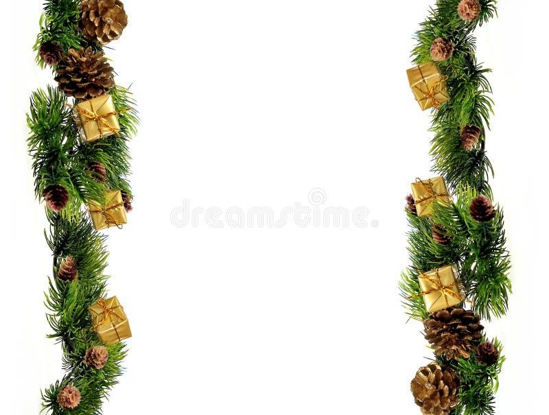 Año Nuevo o diseño de la frontera de las decoraciones de la Navidad fotos de archivo