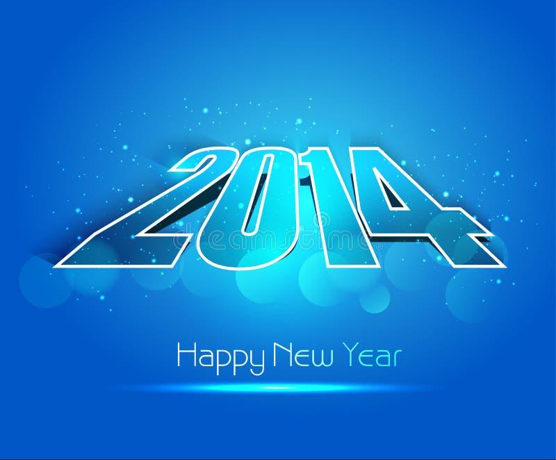 Año Nuevo para el backgroun colorido azul creativo brillante de 2014 días de fiesta stock de ilustración