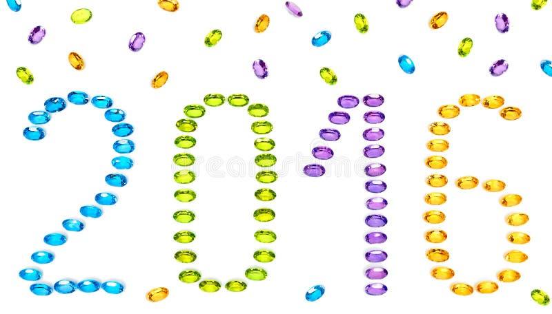 Año Nuevo 2015 Placer de piedras preciosas coloridas fotografía de archivo libre de regalías