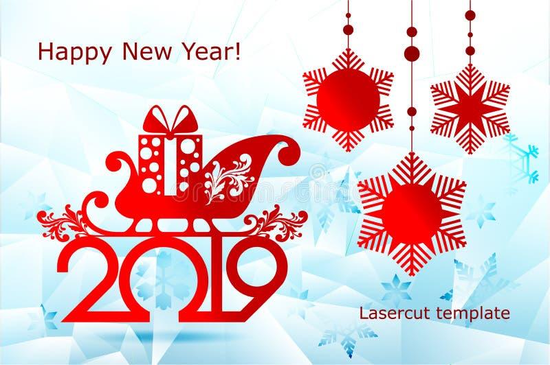 Año Nuevo, plantillas de corte del laser de la Navidad Decoraciones festivas en 2019 en el trineo a cielo abierto de Papá Noel he libre illustration