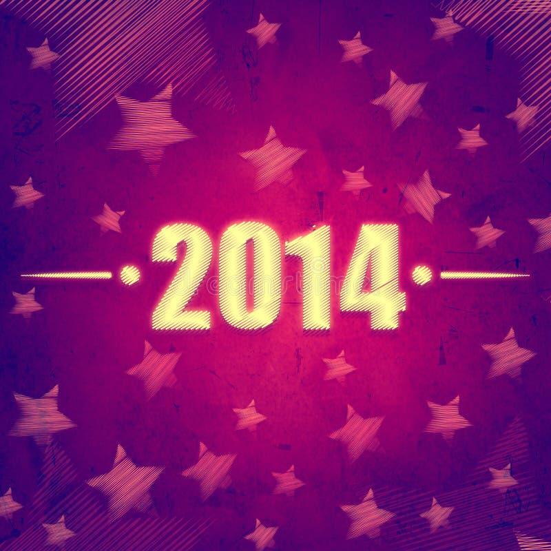 Año Nuevo 2014 sobre el fondo retro violeta con las estrellas ilustración del vector
