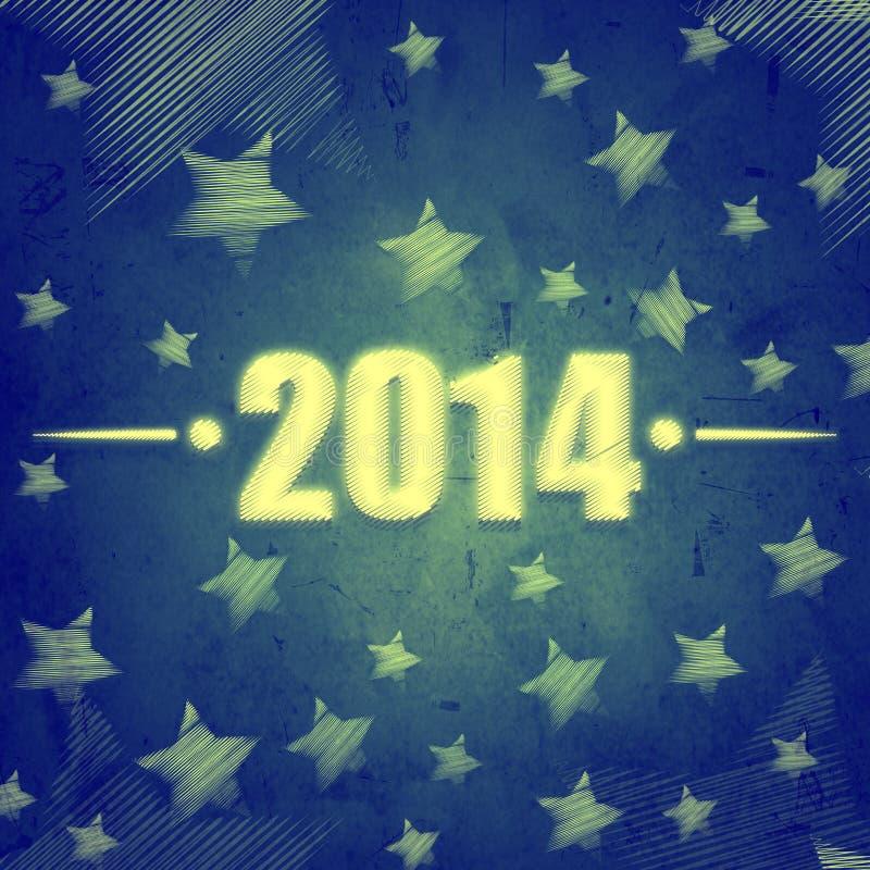 Año Nuevo 2014 sobre fondo retro azul con las estrellas libre illustration