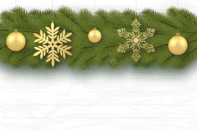 Año Nuevo, tarjeta de felicitación de la Feliz Navidad Fondo festivo Las ramas de árbol se arreglan horizontalmente Juguetes de l ilustración del vector