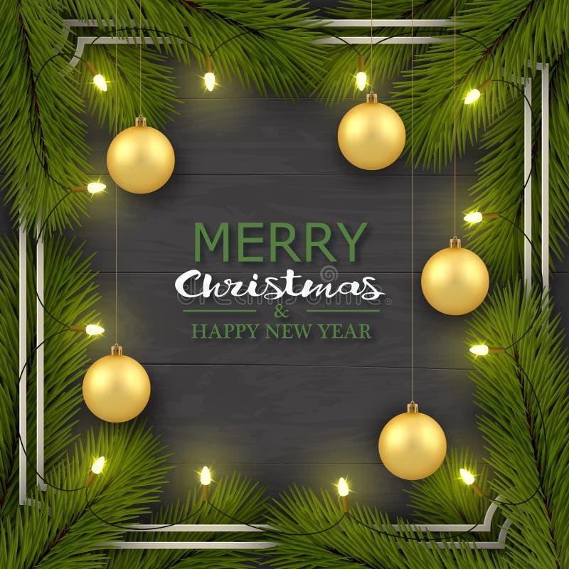 Año Nuevo, tarjeta de felicitación realista del fondo de la Navidad Ramas de árbol, bolas de oro, bombillas en un marco stock de ilustración