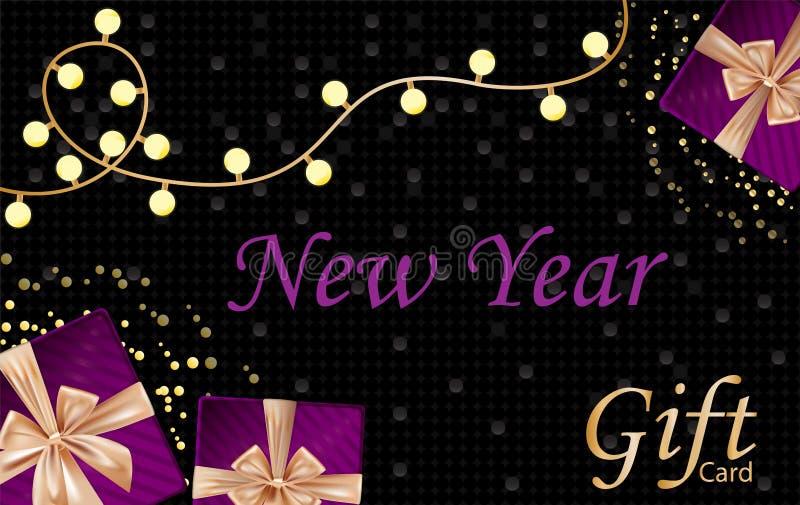 Año Nuevo y carte cadeaux de la Feliz Navidad con las cajas de regalo del terciopelo, ilustración del vector